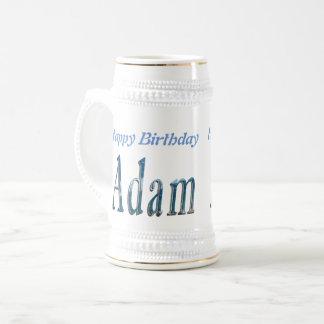 Blue Adam Name Logo, Beer Stein