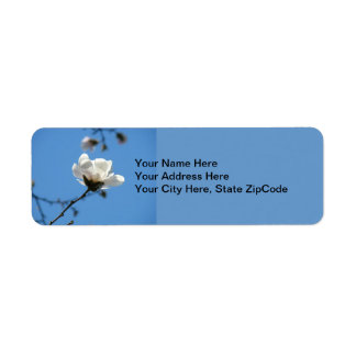 Blue Address Labels Spring White Magnolia Flower