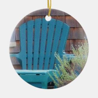 Blue Adirondack Ceramic Ornament