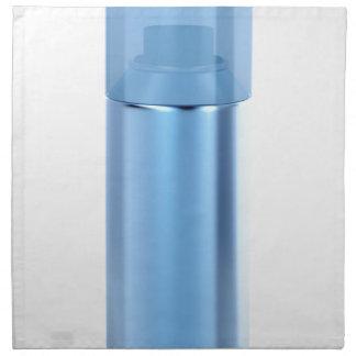 Blue aerosol spray can napkin