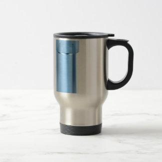 Blue aerosol spray can travel mug