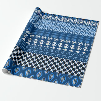 Blue African Pattern Mix Wrapping Paper