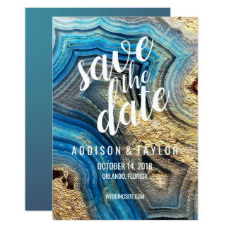 Blue agate geode aqua save the date gold foil card