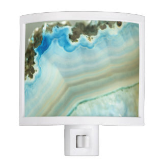Blue Agate Geode Igneous Rock Crystal Patterns Night Lights