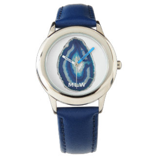 Blue Agate Initials Watch