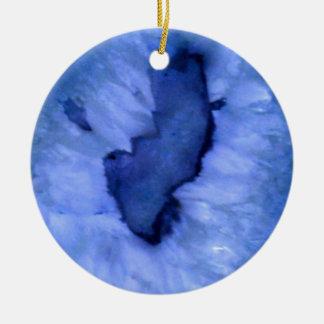 Blue Agate Round Ceramic Ornament