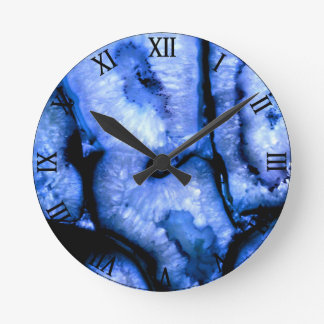 Blue Agate Round Clock