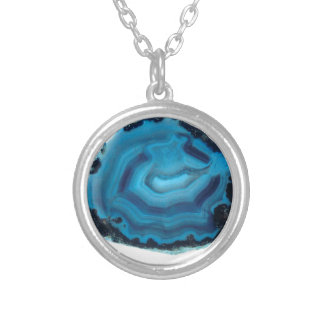 Blue Agate Silver Plated Necklace