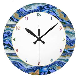 Blue Agate Slab Large Clock