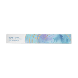 Blue Agate Watercolor | Wrap Address Label Wraparound Address Label