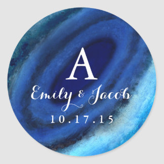 Blue Agate Wedding Monogram Classic Round Sticker