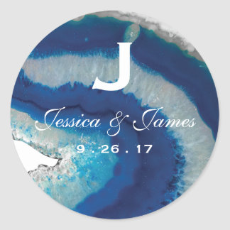Blue Agate Wedding Monogram Classic Round Sticker