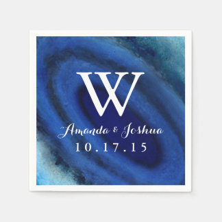 Blue Agate Wedding Monogram Disposable Napkin