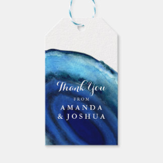 Blue Agate Wedding Monogram Gift Tags