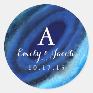 Blue Agate Wedding Monogram Round Sticker