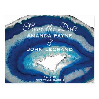 Blue Agate Wedding Postcard