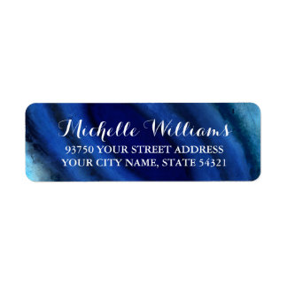 Blue Agate Wedding Return Address Labels