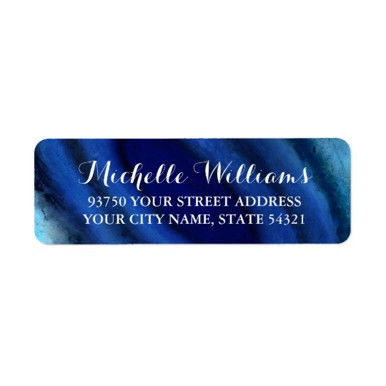 Blue Agate Wedding Return Address Labels