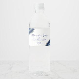 Blue Agate Wedding Water Bottle Label