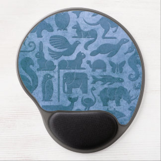 Blue Aged and Worn Animal Kingdom Pattern Gel Mouse Pad