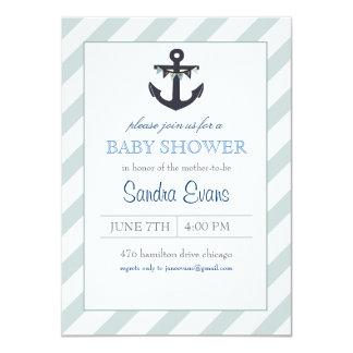 Blue Ahoy Anchor Baby Shower Invitation