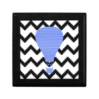 Blue Air balloon - zigzag - black. Gift Box