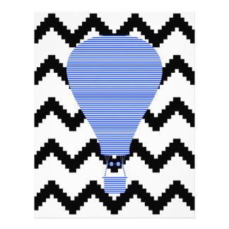 Blue Air balloon - zigzag - black. Letterhead