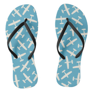 Blue Aircraft Vintage Color Flip Flops