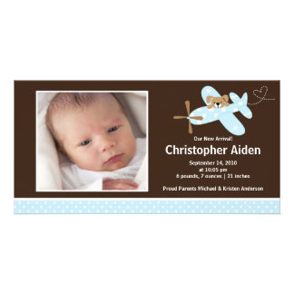 Blue Airplane Baby Boy Birth Annoucement Picture Card