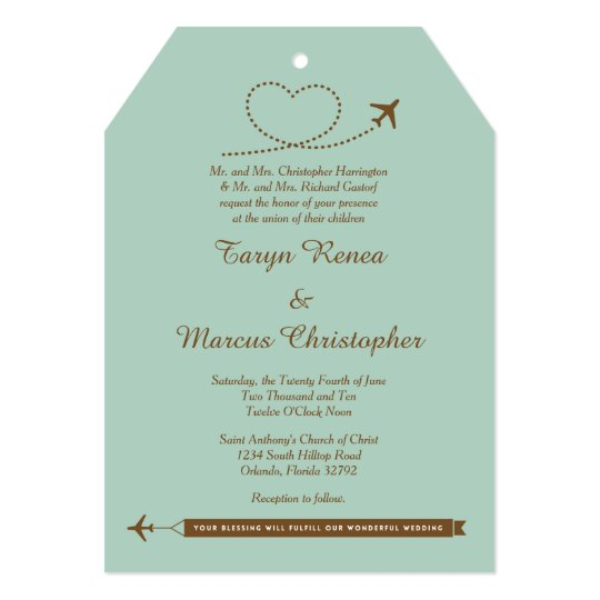 Blue Airplane Heart 5x7 Wedding Invitation