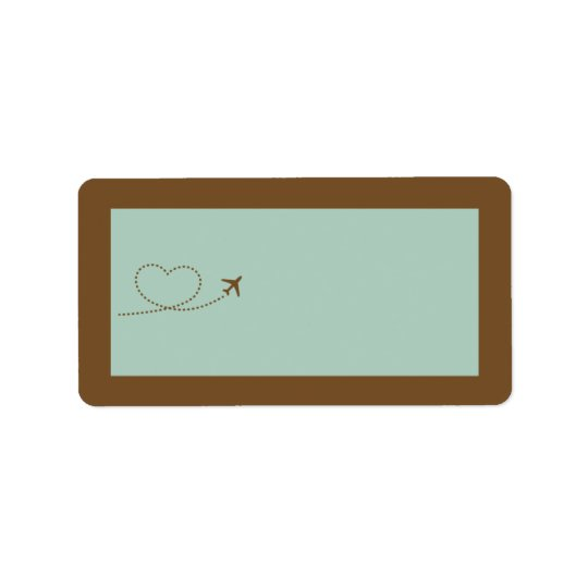 Blue Airplane Heart Wedding Mailing Address Label