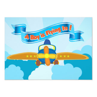 Blue Airplane in the Clouds Baby Boy Shower Invite