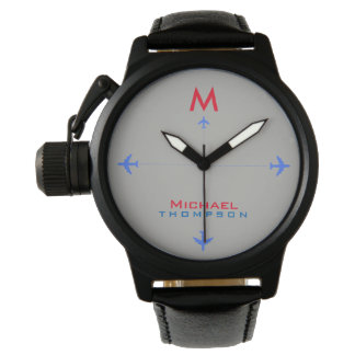 blue airplanes with name & initial, aero style watch