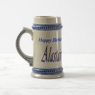 Blue Alastair Name Logo, Beer Stein
