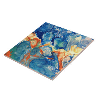 Blue Alien Acrylic Abstract Painting Tile