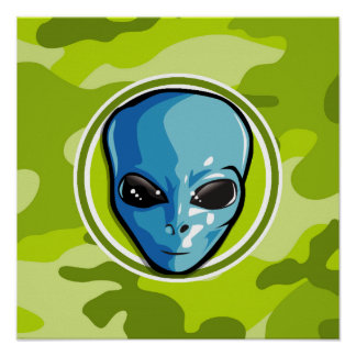 Blue Alien bright green camo camouflage Posters
