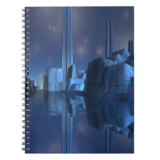 Blue Alien Harbor City Spiral Notebook
