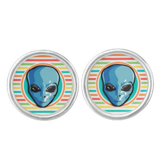 Blue Alien on Bright Rainbow Stripes Cufflinks
