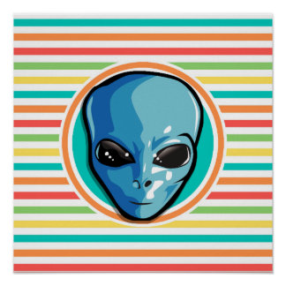 Blue Alien on Bright Rainbow Stripes Print