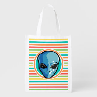 Blue Alien on Bright Rainbow Stripes Reusable Grocery Bag