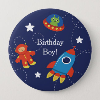 Blue Alien UFO Space Personalized Birthday Button