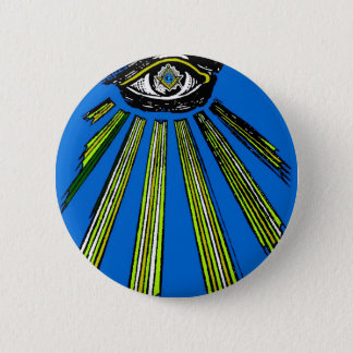 Blue All Seeing Eye Square and Compass Mason 2 Inch Round Button