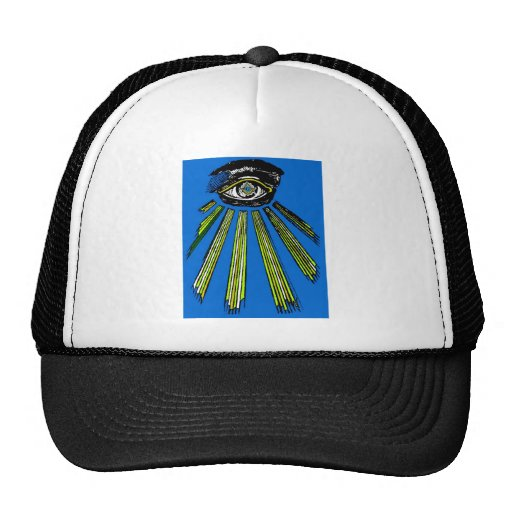 Blue All Seeing Eye Square and Compass Mason Hat