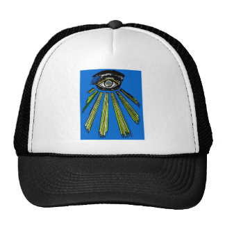 Blue All Seeing Eye Square and Compass Mason Trucker Hat