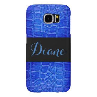 Blue Alligator Skin Black Samsung Galaxy S6 Cases