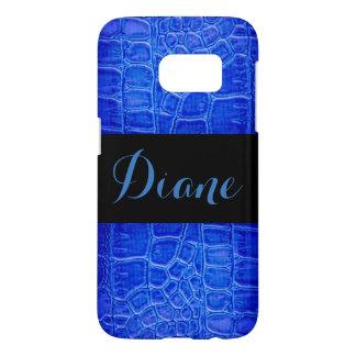 Blue Alligator Skin Print Pattern Design Samsung Galaxy S7 Case