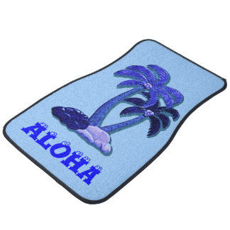 Blue Aloha Hawaiian coconut tree car mat