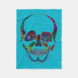 Blue Anatomical Sugar Skull Mosaic Fleece Blanket