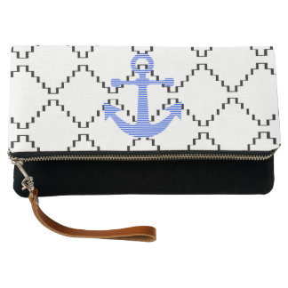 Blue anchor - Abstract geometric pattern - black Clutch