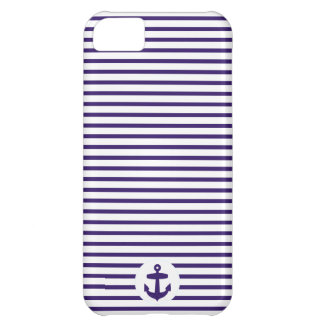 Blue Anchor and Navy Blue Sailor Stripes Cover For iPhone 5C